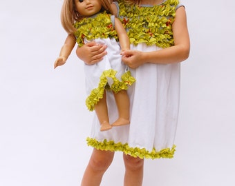 Matching American Doll & Girl's Clothing: Ruffled Cotton Dress in Green