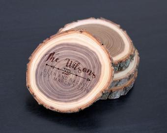 Wood Log Coasters, Personalized Wood Log Coasters, Custom Wood Log Coasters, Tree Log Coasters, Personalized, custom coaster set of 4
