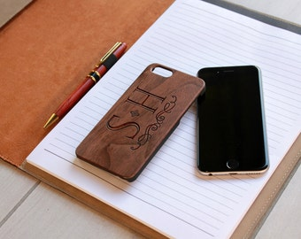 Personalized Iphone 6 case, Custom Iphone 6 case, Wood Iphone 6 case, Laser Engraved Iphone 6 case, Walnut  --IP6-WAL-S+H