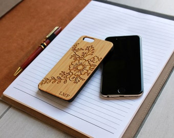 Personalized Iphone 6 case, Custom Iphone 6 case, Iphone 6 case,  Laser Engraved Iphone 6 case, Bamboo Iphone 6 --IP6-BAM-LMF flowers ip6w