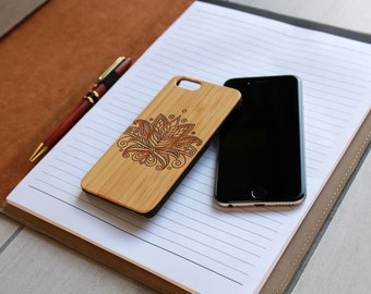 Personalized Iphone 6 case, Custom Iphone 6 case, Wood Iphone 6 case, Laser Engraved Iphone 6 case, Bamboo --IP6-BAM-Paisley Flower ip6w