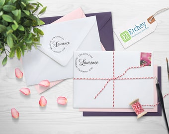 Custom Rubber Stamp, Self Inking Stamp, Custom Return Address Stamp, Self Ink Return Address Stamp, Return Address stamp, --SI-4927-Lawrence