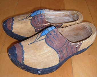 Vintage Hand Carved Wood Shoes with Painted Design - Large Size