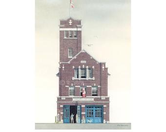 Fire Hall Art, Hall 25, Hendrick Ave, Toronto // Fire Station, Toronto art, Fire House, Firefighter Gift, Architectural Print, Architect.