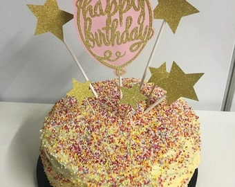 Happy birthday party birthday cake topper pink and blush pink and gold first birthday 50th birthday sweet 16 celebration cake cake topper