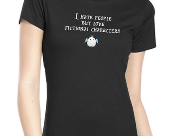 Love Fictional Characters Funny Quote Womens Fitted Tee Shirt 100% Cotton - Devil Angel