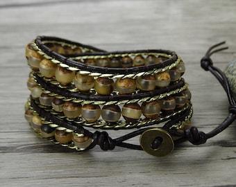 bead wraps bracelet Tibet agate bead bracelet Boho wrap bracelet chain bead bracelet Leather wrap bracelet bead weaving bracelet SL-0354