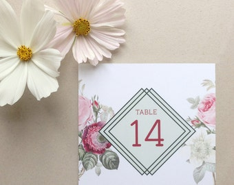 Printable Table Number Set. Bouquet Wedding Stationary Suite.