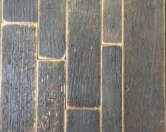 Charred Oak Bourbon Whiskey Barrel Stacked Wall Panels DIY