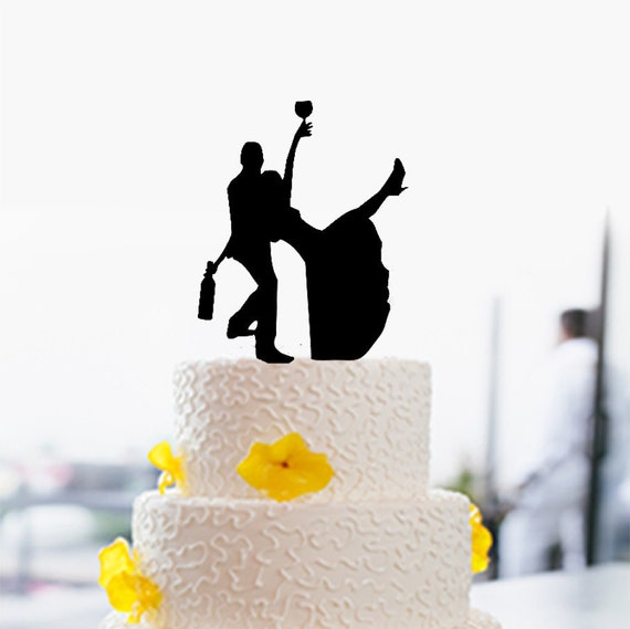 Funny Silhouette Wedding Cake Toppers