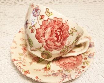SALE! Vintage Johnson Bros Rose Chintz Floral Tea Cup & Saucer