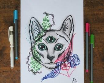Original Art: Three Eyed Cat