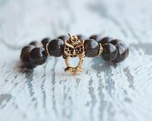 owl bracelet mens beaded bracelets women brown bracelet owls jewelry boho gold gemstone gifts for her stretch bracelet owl charm girlfriend