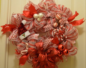 Candy Cane Striped Christmas Wreath with Lights