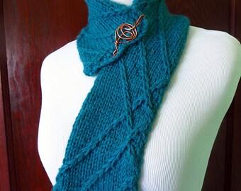 Hand knit teal scarf, baby alpaca scarf, striped scarf, scarf pin, short scarf, bright scarf, cuddly scarf, winter scarf, blue green scarf