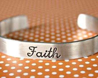 Engraved Bracelet, Aluminum Bracelet, Faith Bracelet, Cuff Bracelet, Stocking Stuffer, Gift for her, Inspirational bracelet