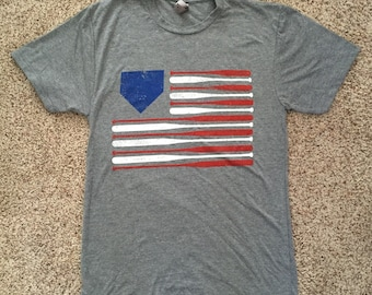 Baseball American Flag Soft Shirt