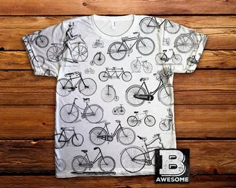 Vintage Bicycle Collage, All Over Print, Vintage Illustration, Bike Drawing, bicycle t shirt,