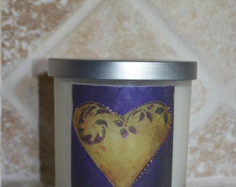 Heart Adorned Essential Oil and Soy Lavendar Candle