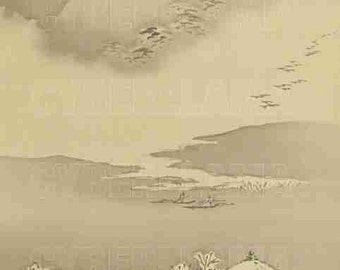 Printable Japanese bookmark with a motiff from Japanese Art / Byobu / Kano school / Japanese Panel / Gaho
