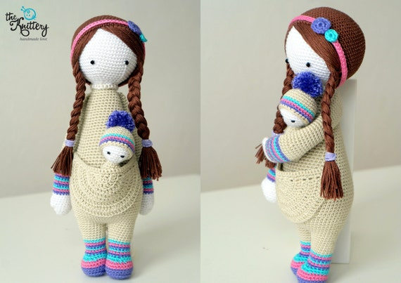 Crochet Hair Doll : Crochet doll with baby hair in braids and head by TheKnitteryLT