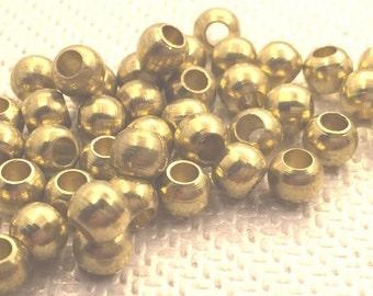 100 pcs 5 mm raw brass  Round ball spacer beads