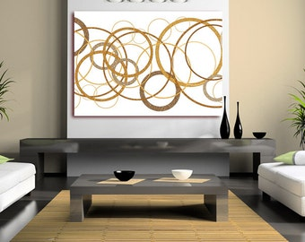 Abstract Circles Giclee Print Canvas (Framed version U.K only) Art Modern Contemporary Gold White Rolled Canvas or Framed