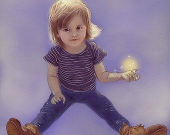 Custom Digital Portrait Child – Family Portrait Baby -Child-Children Portrait-Personalized Gift-Print-Custom Kids Portrait
