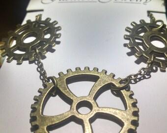 Steampunk triple gear necklace
