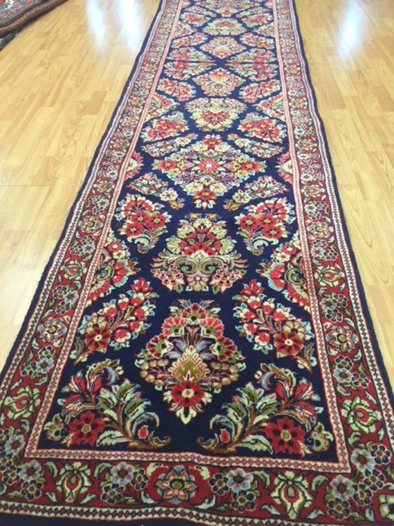"2'5"" x 12'6"" Persian Sarouk Floor Runner Oriental Rug - Hand Made - 100% Wool"