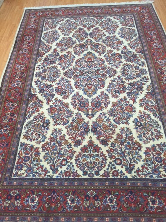"6'5"" x 9'8"" Persian Sarouk Oriental Rug - Hand Made - 100% Wool"