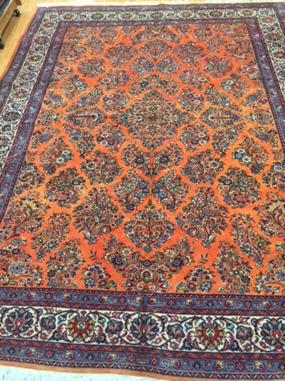 "8'1"" x 10'6"" Persian Sarouk Oriental Rug - 1970s - Hand Made - 100% Wool - Vintage"