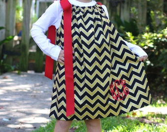 Red, Black and GOLD Chevron Pillowcase dress - with MONOGRAM