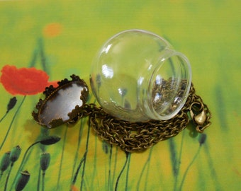1 Glass globe necklace Bronze Lid Dome Wish Beach Bottle Vial Miniature Fairy Garden Glass Globe Pendant DIY Terrarium Jewelry Supplies
