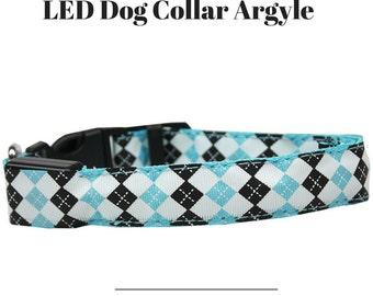 LED Argyle Dog Collars , Blue,Green,Orange,Pink and Purple LED Dog Collars