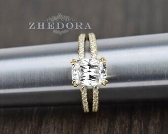 Yellow Gold Elongated Cushion Cut Engagement ring 3.35 TCW , Cushion Cut Engagement Ring, Elongated Cushion Ring, Zhedora
