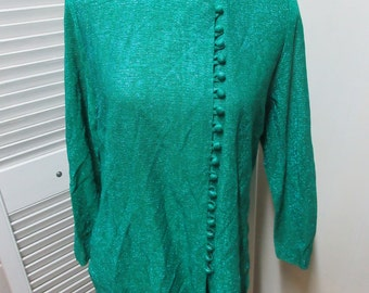 Sparkly Emerald green tunic,1960s, covered buttons, side closure, round neck