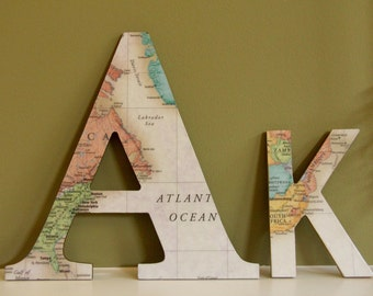 Handmade Decoupage World Map Letters