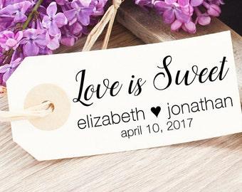 Love is Sweet Stamp - Custom Wedding Favor Stamp - Bridal Shower Favor Tag - Donut Bag Stamp - Wedding Candy Bag - Vintage Wedding Jam Tag