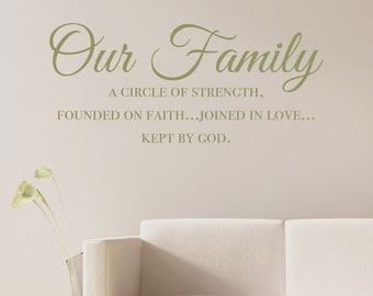 Our Family A Circle of Strength - Vinyl Wall Decal Quote