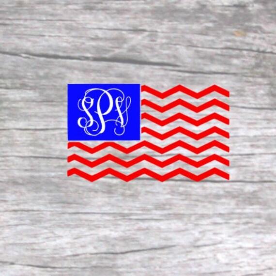 Flag Monogram Decal American Flag Decal Patriotic Monogram