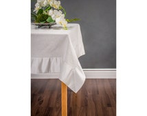 Rectangle Tablecloth - Table Runner - silver tablecloth - custom sizes welcome. Metallic Fling