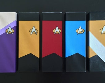 Star Trek TNG Canvas Paintings Set (5; Red, Yellow, Blue, Worf, Deanna Troi)