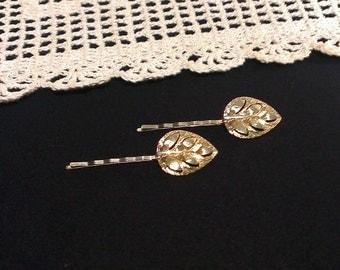 Gold Leaf Bobby Pins - Set of 2