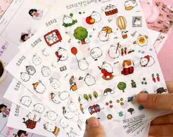 Molang Bunny Rabbit Planner Stickers (6 sheets) / Cute Stickers / Korean Stationery / Cute Diary Sticker / Kawaii Stickers / Cute Stationery
