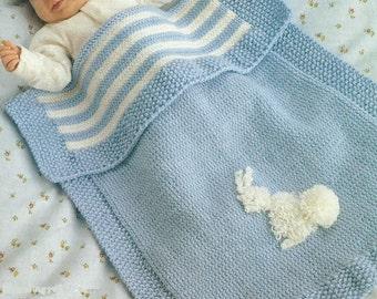 Baby Pram Blanket PDF Knitting Pattern with Bunny motif Double Knitting - Easy Knit