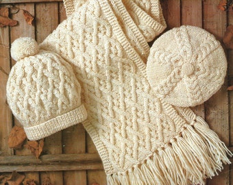 Hat Scarf and Beret PDF Aran Knitting Pattern for Boys Girls and Adults.