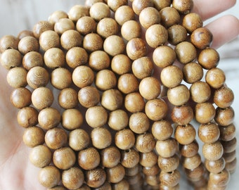 10mm Brown Beads, Robles Wood, Round Natural Wood, Natural Beads, Brown Beads, Wood Beads, Dark Brown Beads, 10mm Beads,