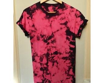 Tie Dye T-Shirt acid wash T-shirt hipster marble Retro 90s dip dye Galaxy scrunchy t shirt hot pink top
