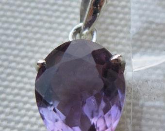 Amethyst Pendant in 925 Sterling Silver bezel #120 Purple Lavender Violet